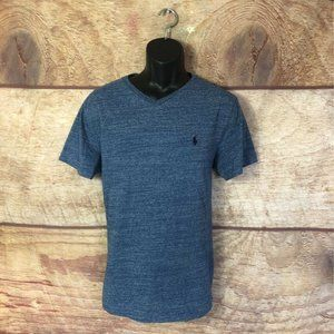 Polo Ralph Lauren Mens T-Shirt Blue V Neck Large